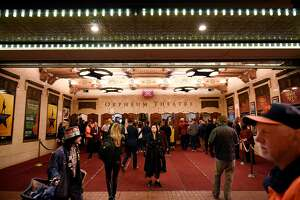 People mingle outside before the first public performance of �Hamilton� at the Orpheum Theater in San Francisco, CA, on Friday March 10, 2017,