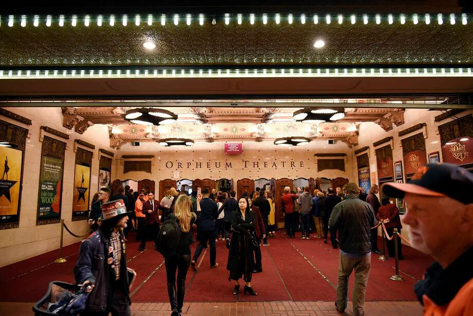 "People mingle outside the Orpheum Theater in San Francisco in 2017. A woman in the audience suffered a medical emergency at a ""Hamilton"" musical performance on Feb. 15, 2019. Photo: Michael Short, Special To The Chronicle"