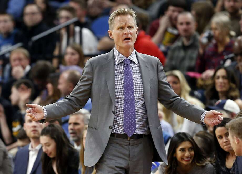 Golden State Warriors coach Steve Kerr questions a call during the second half of the team's NBA basketball game against the Minnesota Timberwolves on Friday, March 10, 2017, in Minneapolis. The Timberwolves won 103-102. (AP Photo/Jim Mone) Photo: Jim Mone, Associated Press