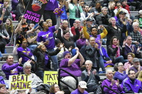 UAlbany cheer on their team during the America East championship game against Maine Friday March 10, 2017 in Albany, NY.  (John Carl D'Annibale / Times Union)