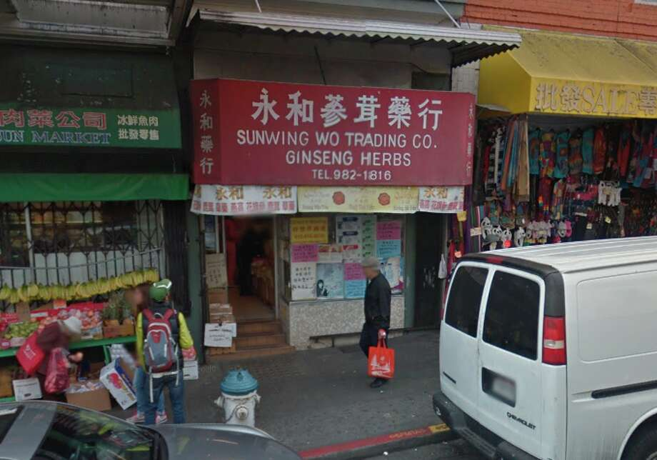 A woman in her 50s and a man in his 30s became sick within an hour of sipping a tea made from leaves sold by the Sun Wing Wo Trading Co., an herbalist at 1105 Grant Ave. Photo: Google Maps