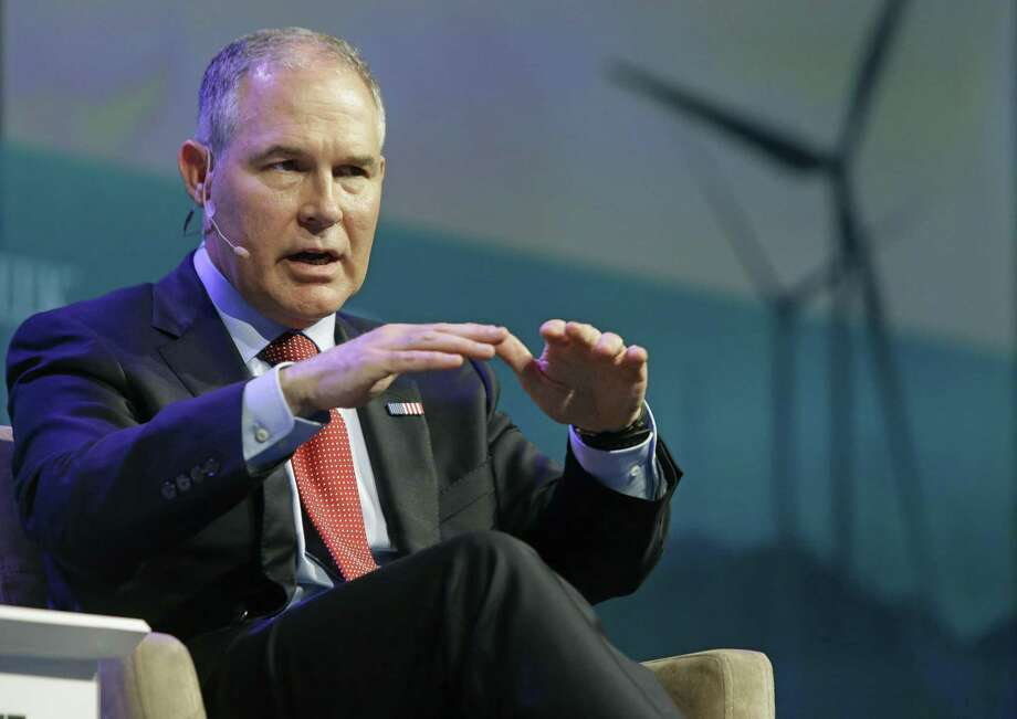 Environmental Protection Agency Administrator Scott Pruitt speaks during CERWeek by IHS Markit on Thursday  in Houston. Photo: Melissa Phillip / Associated Press / ' 2017 Houston Chronicle
