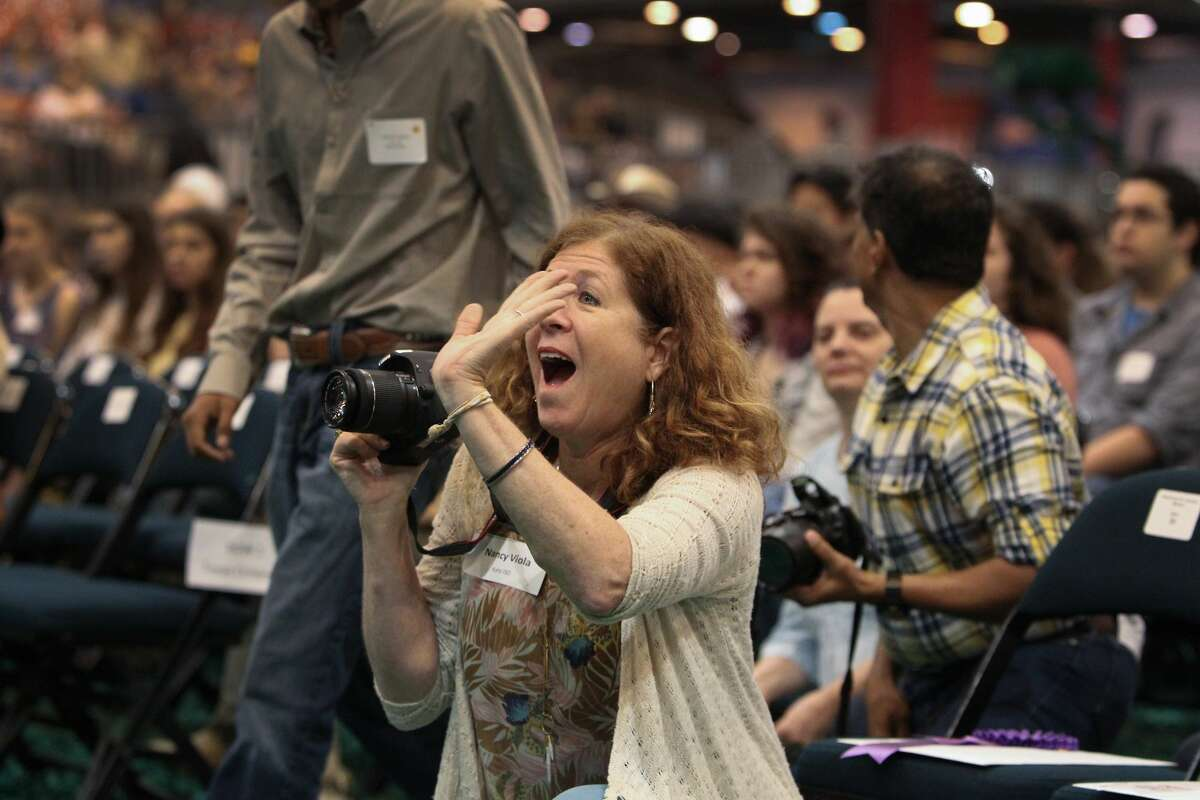 James E. Taylor High School, Katy ISD, Art Instructor Nancy Viola waves to her students during the 2017 Houston Livestock and Rodeo School Art Program and Awards Presentation Saturday, March 11, 2017, in Houston. ( Steve Gonzales / Houston Chronicle )