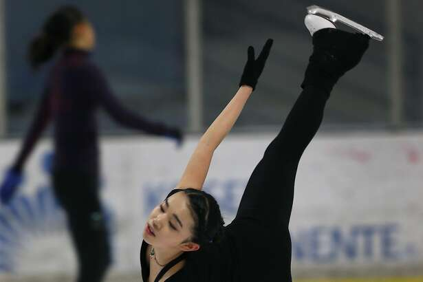 United States figure skating champion Karen Chen trains at the Sharks Ice skating rink in Fremont, Calif. on Saturday, March 11, 2017. Chen will be competing in the world championship in Finland beginning March 29.
