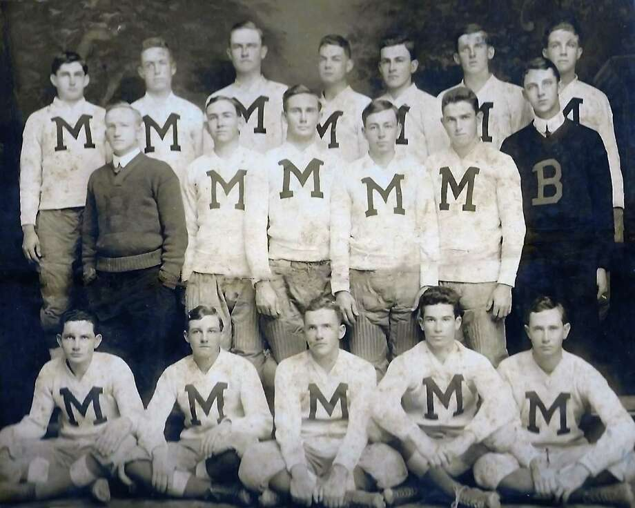 A historical photo of the football team of Marshall Military Academy or perhaps Marshall Training Academy in San Antonio. John Garland Elliff is in the center of the back row, and his cousin, N.M. Ragland, is two places to his right. The picture was taken between 1911-1913. Photo: Photo Courtesy Of John Elliff
