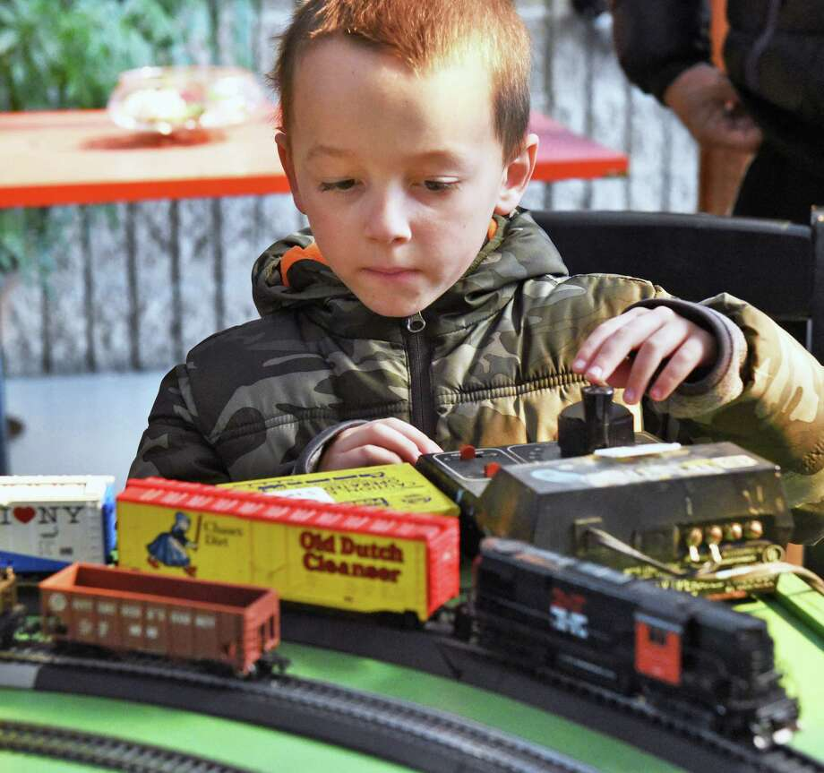 Six-year-old Lucas Hill of Delmar gets to operate a model railroad at the hands-on table at the Albany Train Show at the Polish Community Center Saturday March 11, 2017 in Albany, NY.  (John Carl D'Annibale / Times Union) Photo: John Carl D'Annibale / 20039881A