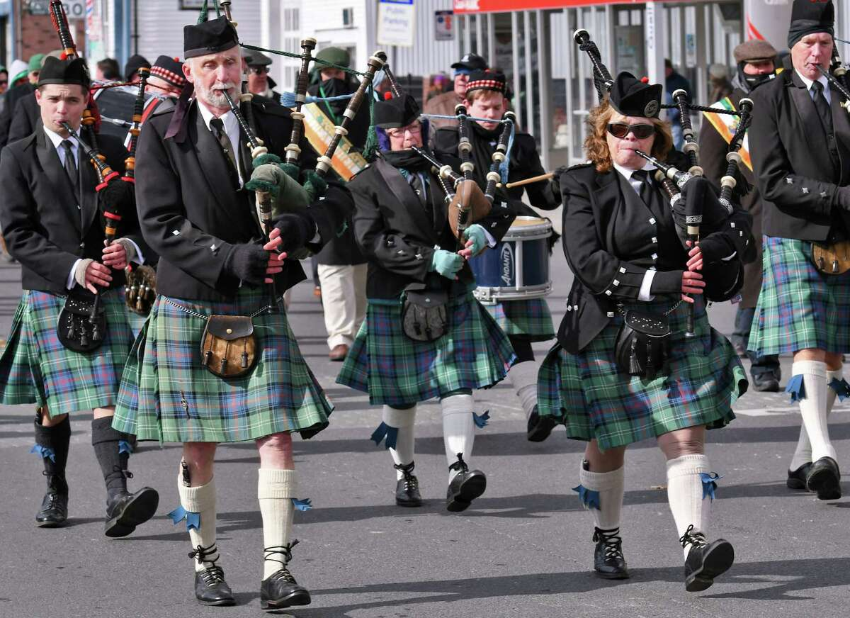 A pipe band from Greene County marches down Central Avenue during the 67th annual Albany St. Patrick's Day parade Saturday March 11, 2017 in Albany, NY. (John Carl D'Annibale / Times Union)