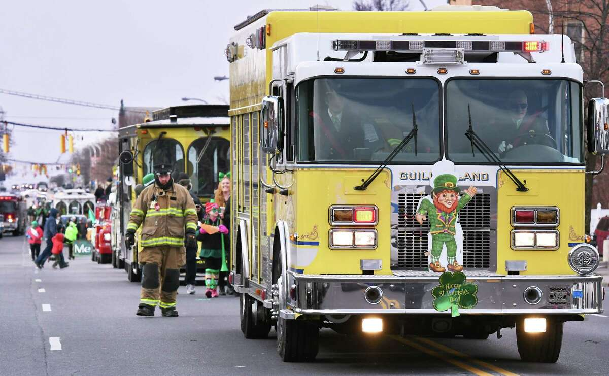The Guilderland Fire Department rolls down Central Avenue in the 67th annual Albany St. Patrick's Day parade Saturday March 11, 2017 in Albany, NY. (John Carl D'Annibale / Times Union)