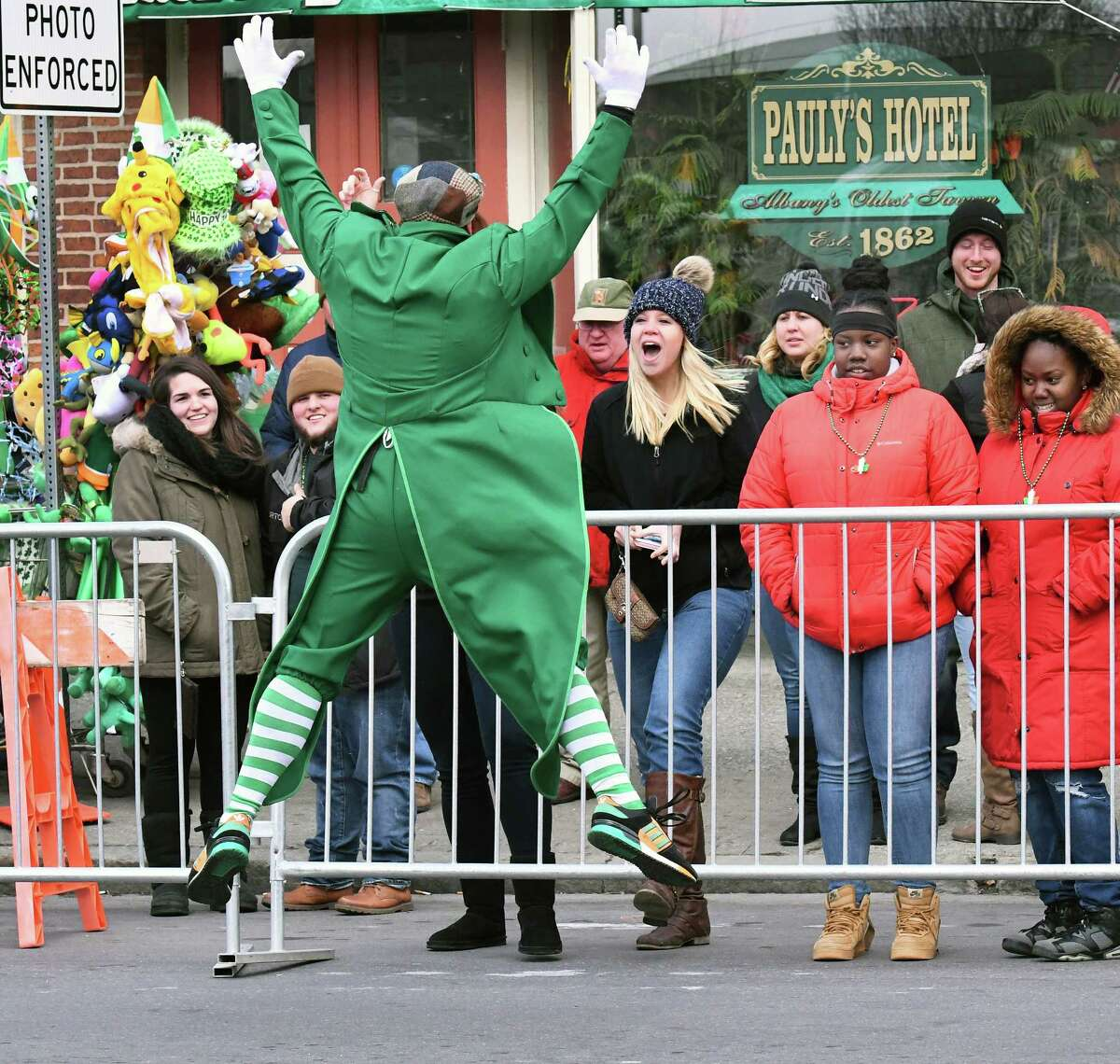 The Limerick's Gary Robusto wows the crowds with his acrobatic leaps during the 67th annual Albany St. Patrick's Day parade Saturday March 11, 2017 in Albany, NY. (John Carl D'Annibale / Times Union)