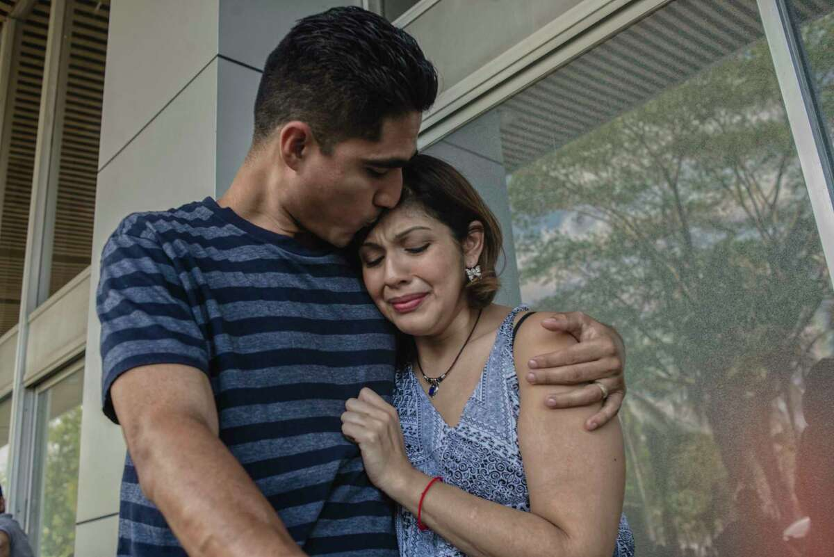 """Jose Escobar and his wife, Rose, had a brief but emotional reunion last week when she traveled from Houston to El Salvador to visit him so they could fill out some paperwork. """"You look skinnier,"""" she told him, crying."""