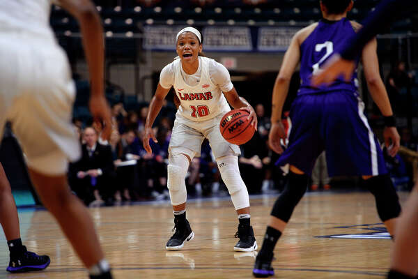 Lamar guard Chastadie Barrs sets up the offense against Stephen F. Austin in the Southland Conference women's basketball tournament at the Merrell Center in Katy on Saturday afternoon. Photo taken Saturday 3/11/17 Ryan Pelham/The Enterprise