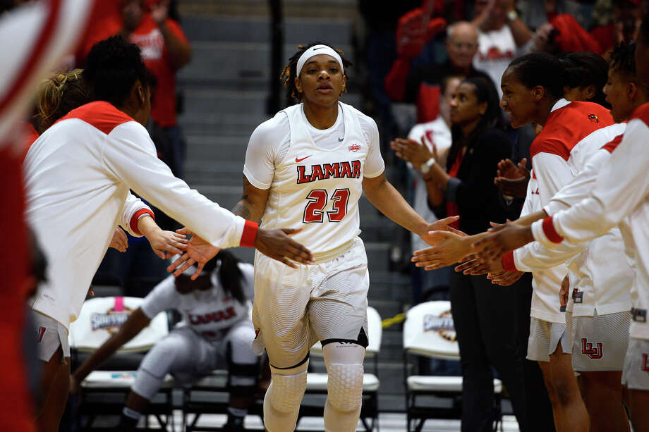 Lamar guard Moe Kinard is introduced before the Cardinals play Stephen F. Austin in the Southland Conference women's basketball tournament at the Merrell Center in Katy on Saturday afternoon.  Photo taken Saturday 3/11/17 Ryan Pelham/The Enterprise Photo: Ryan Pelham / ©2017 The Beaumont Enterprise/Ryan Pelham