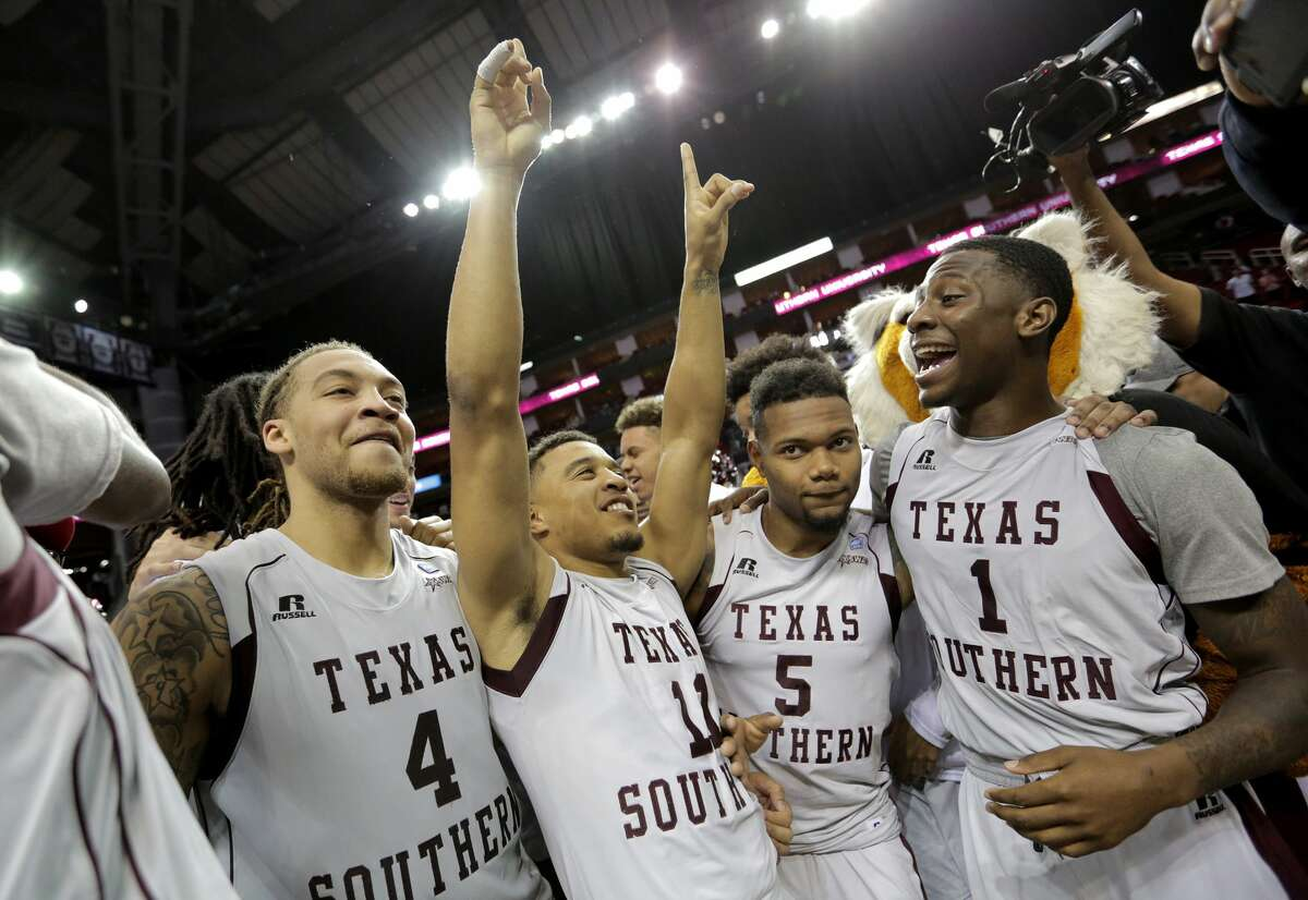 Texas Southern Tigers team celebrates their 53-50 victory over Alcorn State on Saturday, March 11, 2017, in Houston. ( Elizabeth Conley / Houston Chronicle )