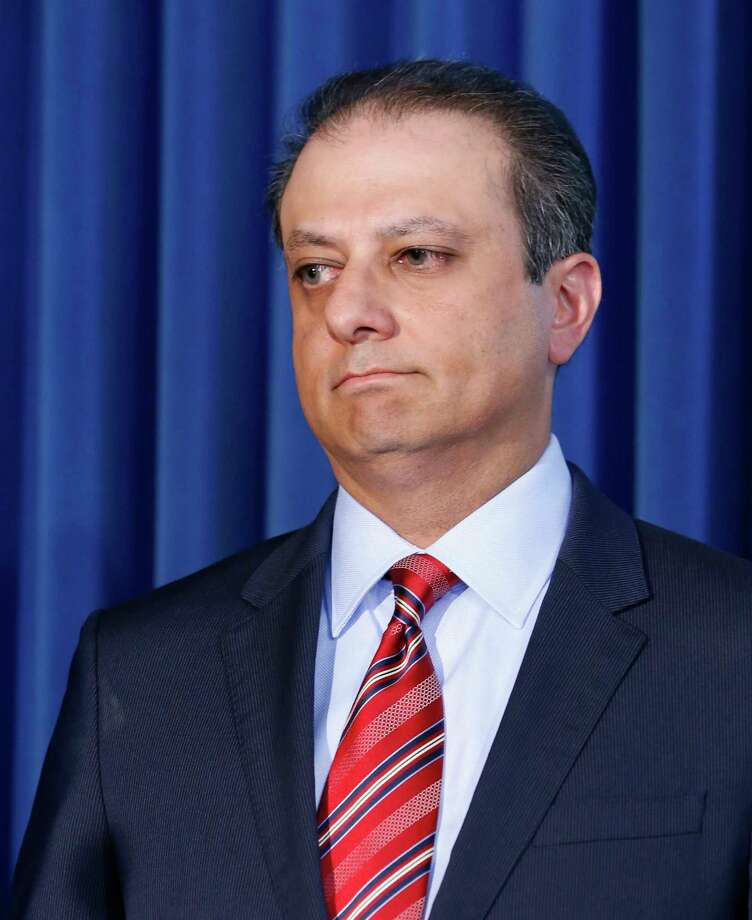 FILE- In this Sept. 17, 2015 file photo, U.S. Attorney for the Southern District of New York, Preet Bharara listens as a member of his team speaks during a news conference in New York. The outspoken Manhattan federal prosecutor known for crusading against public corruption said on Saturday, March 11, 2017, that he was fired after refusing to resign. (AP Photo/Kathy Willens) Photo: Kathy Willens, STF / Copyright 2017 The Associated Press. All rights reserved.