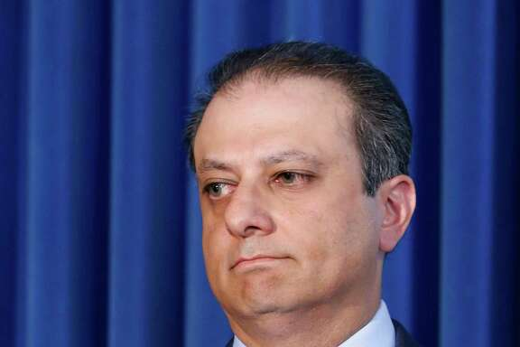 FILE- In this Sept. 17, 2015 file photo, U.S. Attorney for the Southern District of New York, Preet Bharara listens as a member of his team speaks during a news conference in New York. The outspoken Manhattan federal prosecutor known for crusading against public corruption said on Saturday, March 11, 2017, that he was fired after refusing to resign. (AP Photo/Kathy Willens)