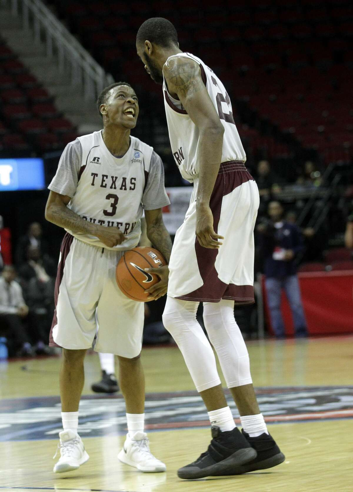 Texas Southern Tigers guard Demontrae Jefferson (3) and center Marvin Jones (24) celebrate the final minute of game action against Alcorn State on Saturday, March 11, 2017, in Houston. TSU won the game 53-50. ( Elizabeth Conley / Houston Chronicle )