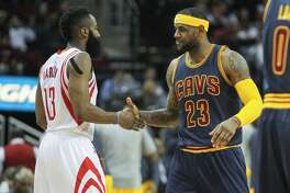 The Rockets' James Harden, left, is one of the top candidates for MVP this season; the Cavaliers' LeBron James, right, has won the award four times.