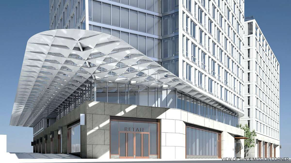 The 1500 Mission project, being designed by the architectural firm SOM, will include a 39-story residential tower with a large porous canopy to extend over the sidewalk and deflect wind.