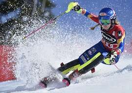 Mikaela Shiffrin competes during the second run in the women's World Cup slalom competition Saturday, March 11, 2017, in Olympic Valley, Calif. (AP Photo/Scott Sady)