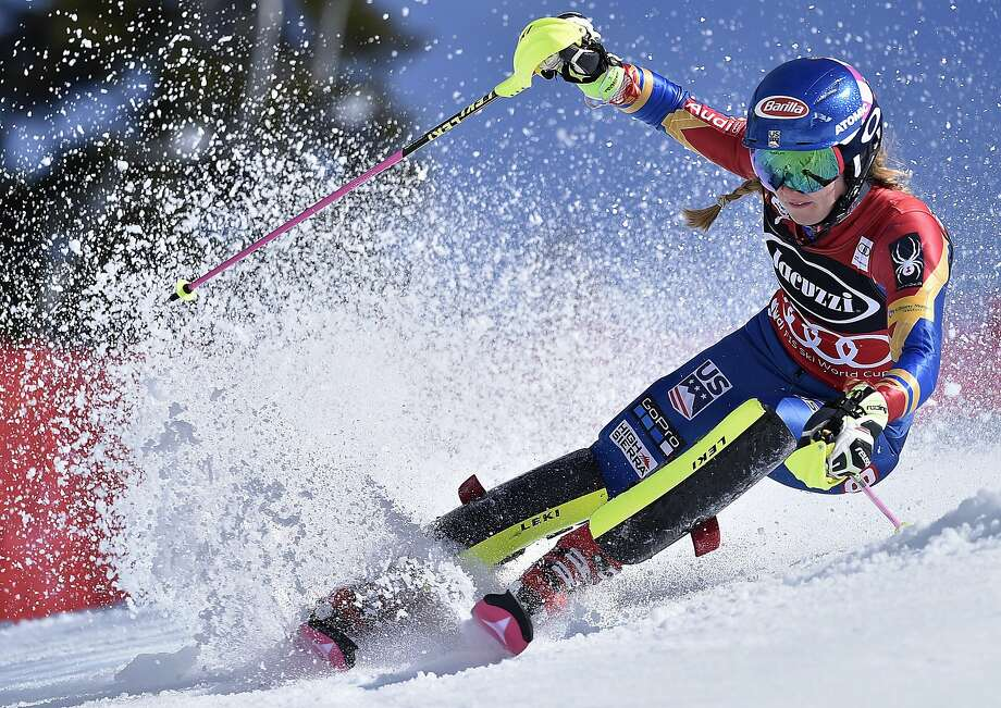 Mikaela Shiffrin competes during the second run in the women's World Cup slalom competition Saturday, March 11, 2017, in Olympic Valley, Calif. (AP Photo/Scott Sady) Photo: Scott Sady, Associated Press