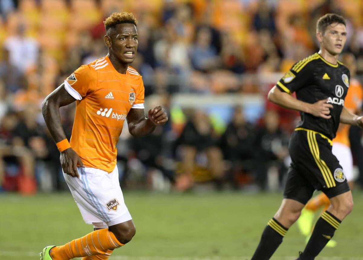 Houston Dynamo forward Romell Quioto (12) during the first half of the MLS soccer game against the Columbus Crew at BBVA Compass Stadium Saturday, March 11, 2017, in Houston. The Dynamos defeated the Crew 3-1. ( Yi-Chin Lee / Houston Chronicle )