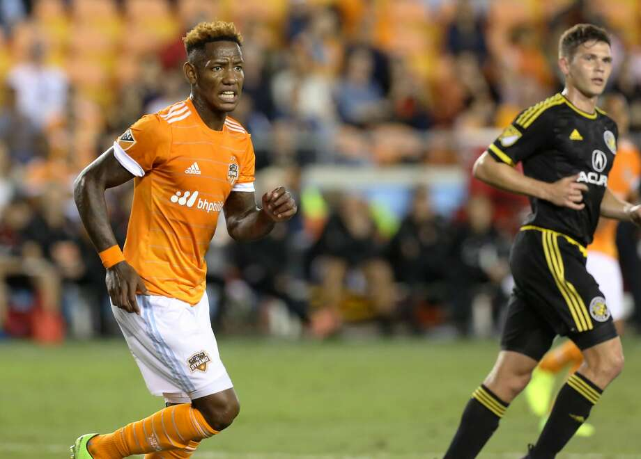 Houston Dynamo forward Romell Quioto (12) during the first half of the MLS soccer game against the Columbus Crew at BBVA Compass Stadium Saturday, March 11, 2017, in Houston. The Dynamos defeated the Crew 3-1. ( Yi-Chin Lee / Houston Chronicle ) Photo: Yi-Chin Lee/Houston Chronicle