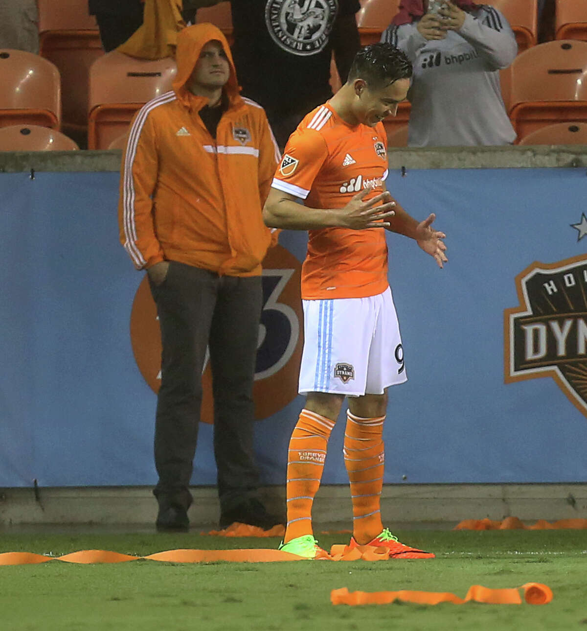 Houston Dynamo forward Erick Torres (9) does a robot dance to celebrate his score during the second half of the MLS soccer game against the Columbus Crew at BBVA Compass Stadium Saturday, March 11, 2017, in Houston. The Dynamos defeated the Crew 3-1. ( Yi-Chin Lee / Houston Chronicle )