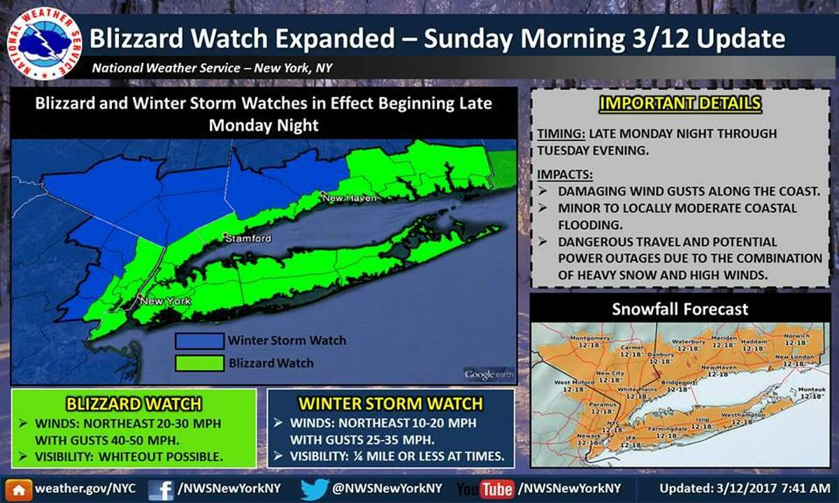 A blizzard watch is in effect for most of Connecticut ?- including Southern Fairfield and New Haven counties ?- from late Monday into Wednesday. Image courtesy of the National Weather Service.