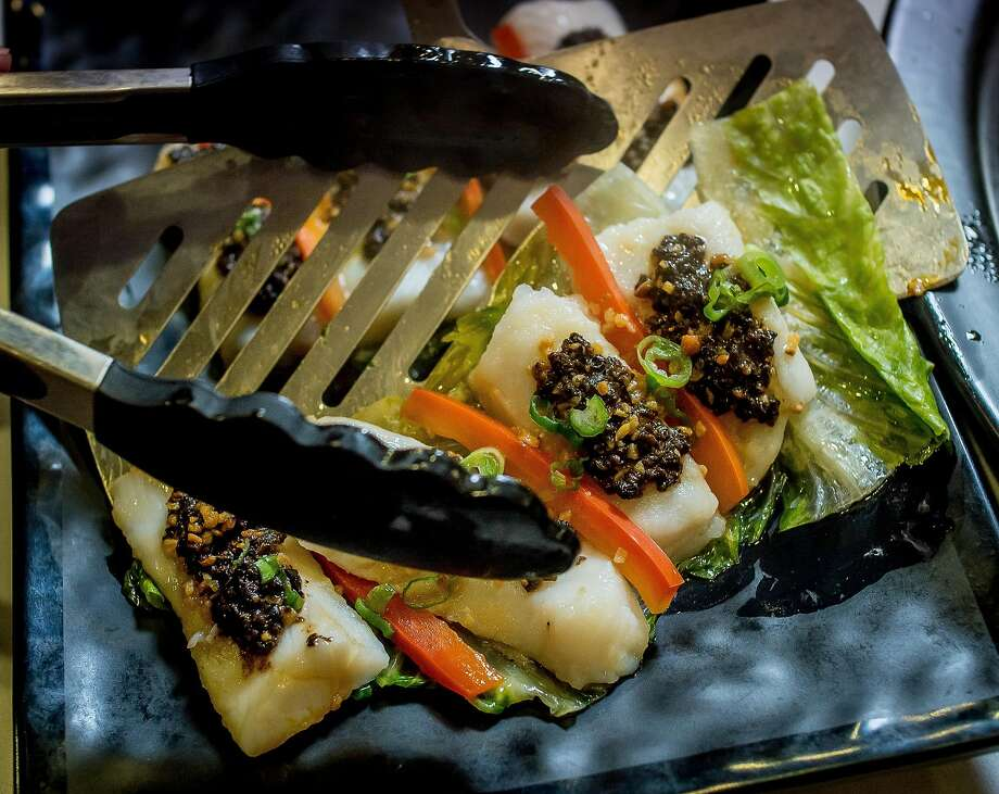 Cod with black bean after steaming. Photo: John Storey, Special To The Chronicle