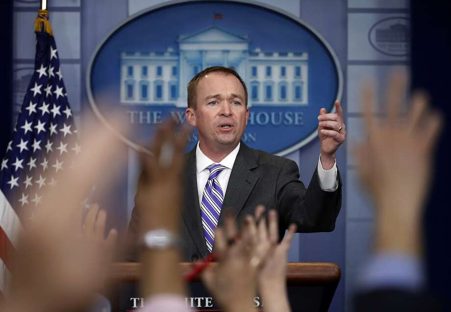 FILE - In this Feb. 27, 2017, file photo, budget director Mick Mulvaney speaks to reporters at the White House in Washington. President Donald Trump unveils a proposed budget on March 16 that will sharply test Republicans' ability to keep longstanding promises to beef up the military by making politically painful cuts to a lengthy list of popular domestic programs. (AP Photo/Manuel Balce Ceneta, File) Photo: Manuel Balce Ceneta, Associated Press