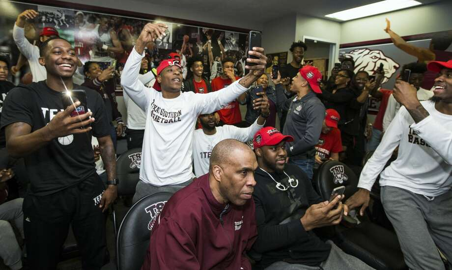 The Texas Southern basketball team reacts after being named the 16th seed in the South Region of the NCAA Basketball Tournament on Sunday, March 12, 2017, in Houston. TSU will face No. 1 seed North Carolina in the first round of the tournament. ( Brett Coomer / Houston Chronicle ) Photo: Brett Coomer/Houston Chronicle