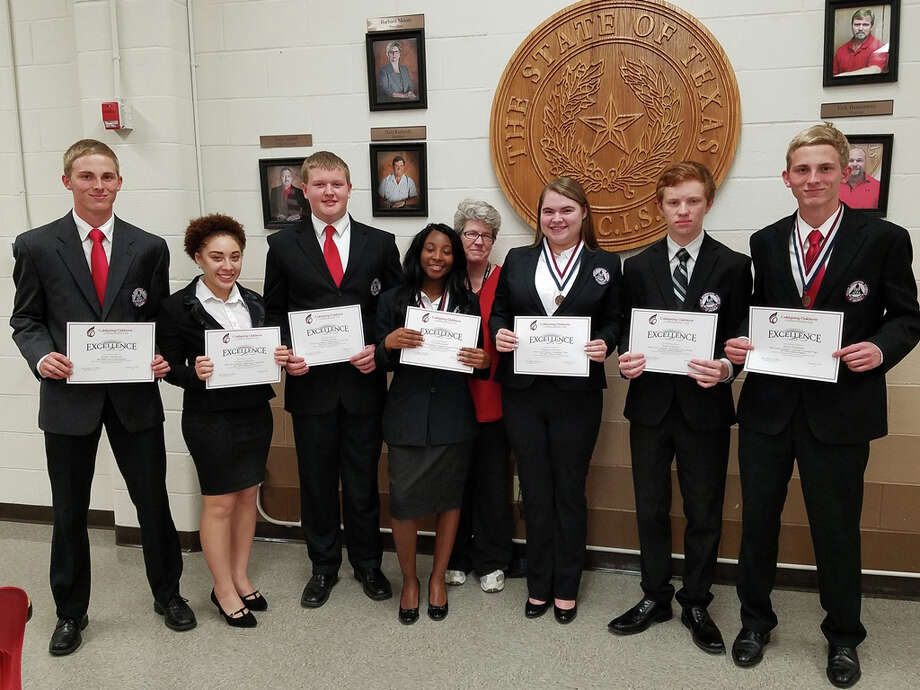 COHS HOSA members were honored for HOSA Area 6 awards and qualifying for state competition by Superintendent Dr. Leland Moore and the COCISD Board of Trustees at the regular meeting held on Monday, Feb. 27. Pictured from left to right are HOSA Area 6 Vice-President Ashton Hickman, Camary Patterson, Robert Horton, Tylia McGowen, HOSA sponsor and Health Science teacher Susan Caraballo, Stephanie Brooks, Noah Johnson and Avery Hickman. Photo: Submitted