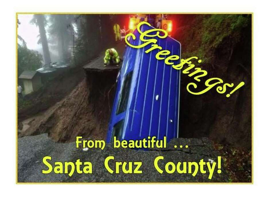 Santa Cruz County officials are sending state lawmakers postcards like this one, urging them to pass legislation that would increase funding for road repairs.  Photo: County Of Santa Cruz Via Facebook