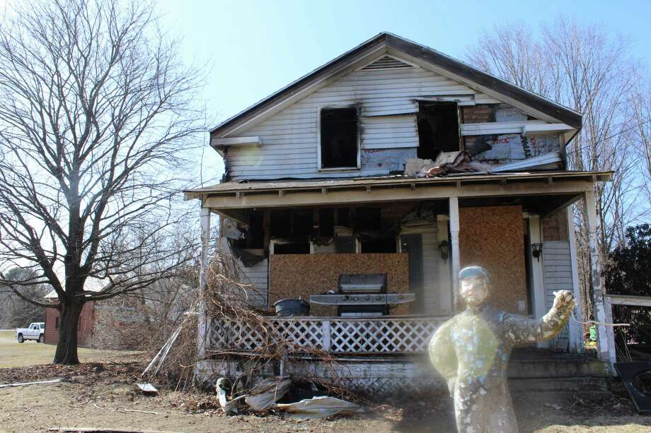 Fire gutted this house on Saturday night in Greenwich. (Wendy Liberatore/Times Union)