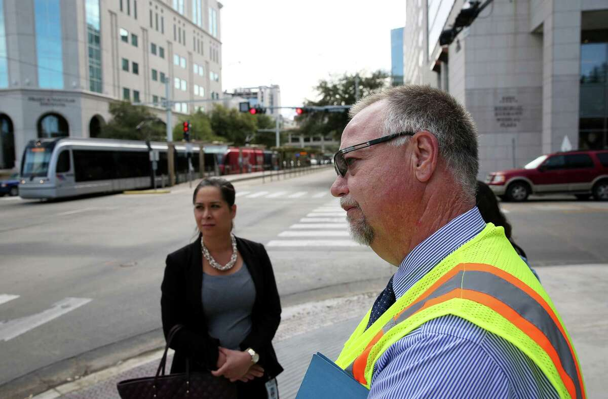 Tim Kell, executive vice president for operations, public safety and customer service at Metropolitan Transit Authority, leads officials from Metro, Rice University, Houston Public Works, Hermann Park Conservancy, BikeHouston and the Texas Medical Center as they discuss long-term improvements at the intersection of Fannin and Cambridge Streets on March 2.