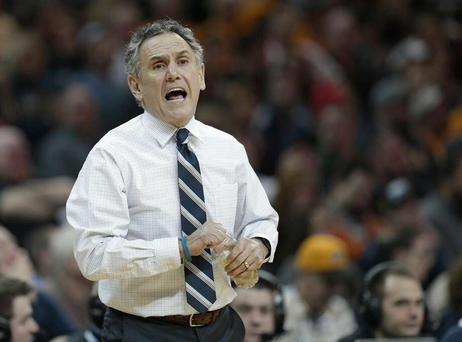 Akron coach Keith Dambrot yells instructions to players during the first half of an NCAA college basketball championship game against Kent State in the Mid-American Conference tournament, Saturday, March 11, 2017, in Cleveland. (AP Photo/Tony Dejak) Photo: Tony Dejak/Associated Press