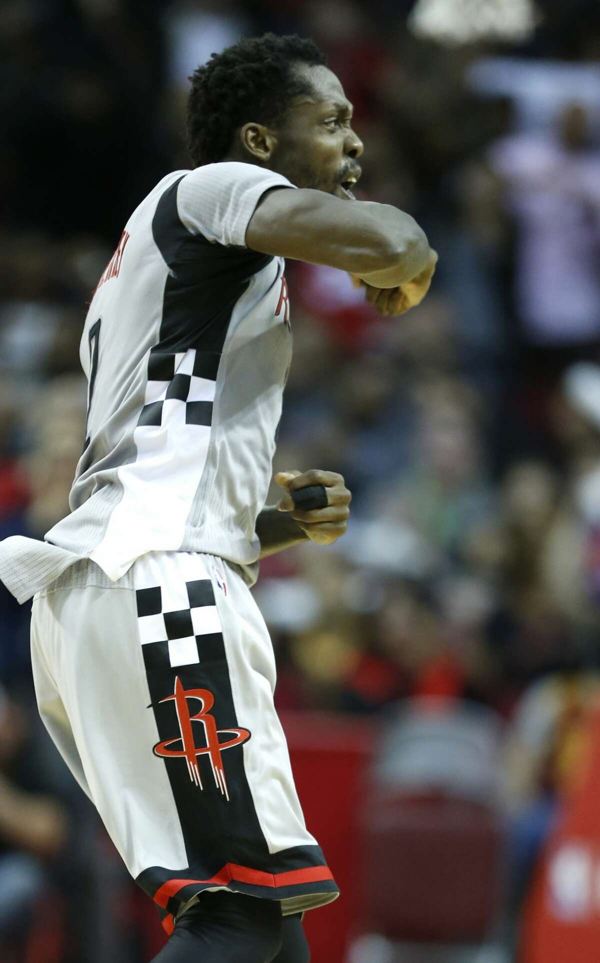 Houston Rockets guard Patrick Beverley reacts after hitting a 3-pointer against the Cleveland Cavaliers during the fourth quarter of an NBA basketball game at Toyota Center on Sunday, March 12, 2017, in Houston. ( Brett Coomer / Houston Chronicle )
