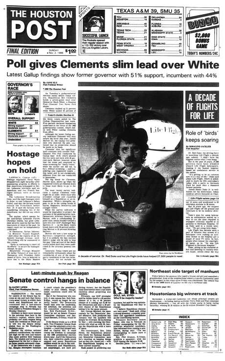 Houston Post front page - November 2, 1986 - section A, page 1.  A DECADE OF FLIGHTS FOR LIFE. Role of 'birds' keeps soaring / Houston Chronicle