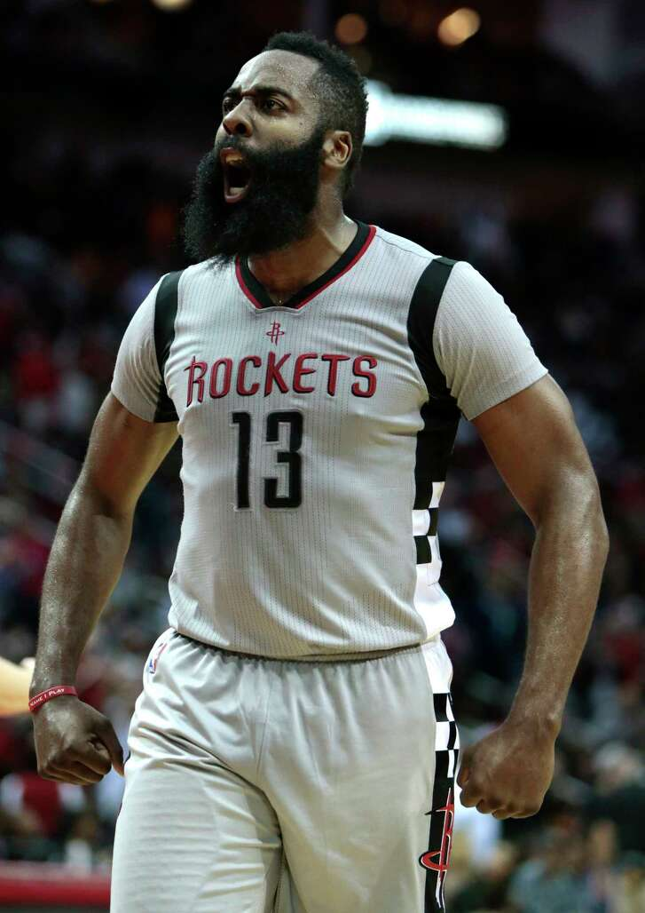 """A third-quarter foul by Kyrie Irving lit a fire under James Harden, who said the Rockets need to """"rock this momentum … into the postseason."""""""