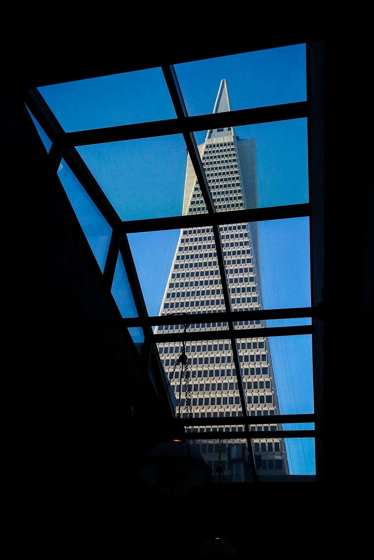 The Transamerica pyramid is seen from the Sequoia bar in the financial district of San Francisco, California, on Thursday, March 2, 2017.