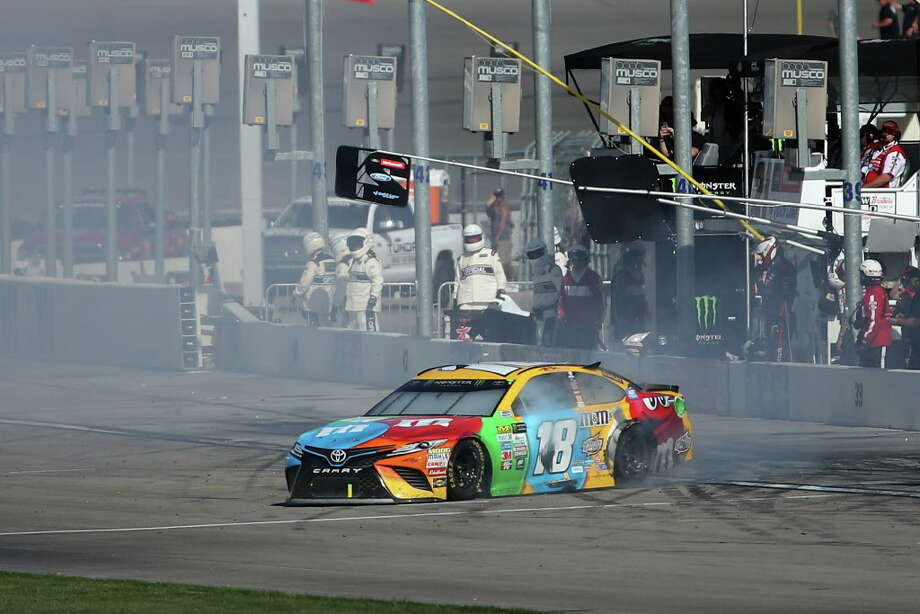 LAS VEGAS, NV - MARCH 12:  Kyle Busch, driver of the #18 M&M's Toyota, is involved in an on-track incident during the Monster Energy NASCAR Cup Series Kobalt 400 at Las Vegas Motor Speedway on March 12, 2017 in Las Vegas, Nevada.  (Photo by Chris Graythen/Getty Images) ORG XMIT: 700017462 Photo: Chris Graythen / 2017 Getty Images