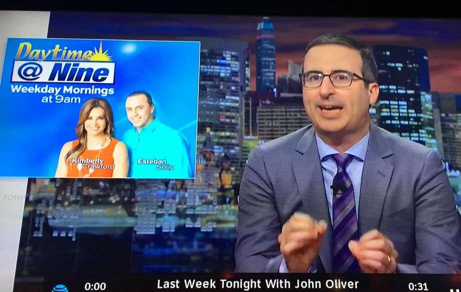 HBO pundit John Oliver had fun roasting the way KABB's 'Daytime at Nine' co-host Esteban Solis paid tribute to International Women's Day. Photo: HBO Screen Grab