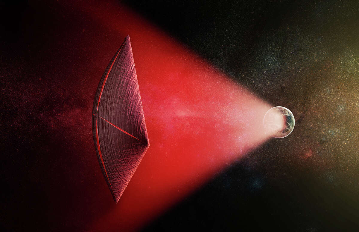 Hollywood's top aliens An artist's illustration of a light-sail powered by a radio beam (red) generated on the surface of a planet. The leakage from such beams as they sweep across the sky would appear as Fast Radio Bursts (FRBs), similar to the new population of sources that was discovered recently at cosmological distances. Click through to seeNeil deGrasse Tyson's list of the best Hollywood aliens.
