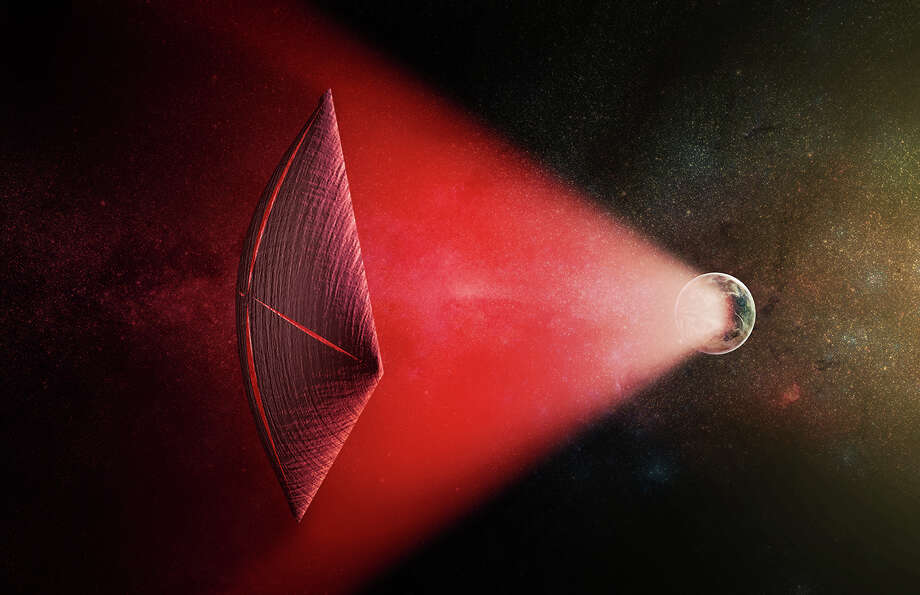 Hollywood's top aliensAn artist's illustration of a light-sail powered by a radio beam (red) generated on the surface of a planet. The leakage from such beams as they sweep across the sky would appear as Fast Radio Bursts (FRBs), similar to the new population of sources that was discovered recently at cosmological distances.Click through to seeNeil deGrasse Tyson's list of the best Hollywood aliens.