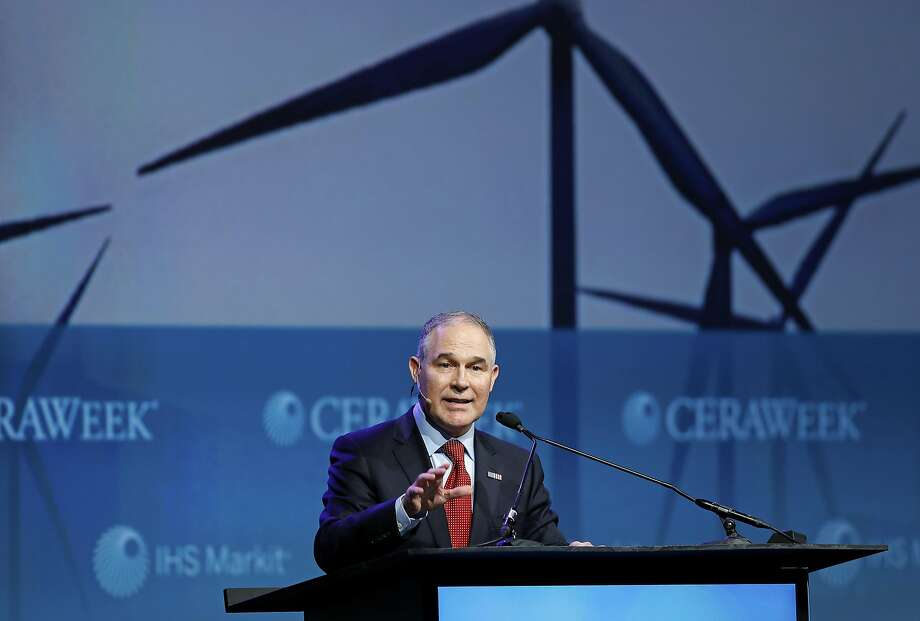 Scott Pruitt, administrator of the Environmental Protection Agency (EPA), speaks during the 2017 CERAWeek by IHS Markit conference in Houston, Texas, U.S., on Thursday, March 9, 2017. CERAWeek gathers energy industry leaders, experts, government officials and policymakers, leaders from the technology, financial, and industrial communities to provide new insights and critically-important dialogue on energy markets. Photographer: Aaron M. Sprecher/Bloomberg Photo: Aaron M. Sprecher, Bloomberg