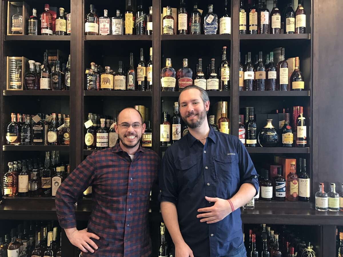 General manager Kyle Nadeau, left, with wine buyer Michael Hildbold, at Maison Corbeaux.