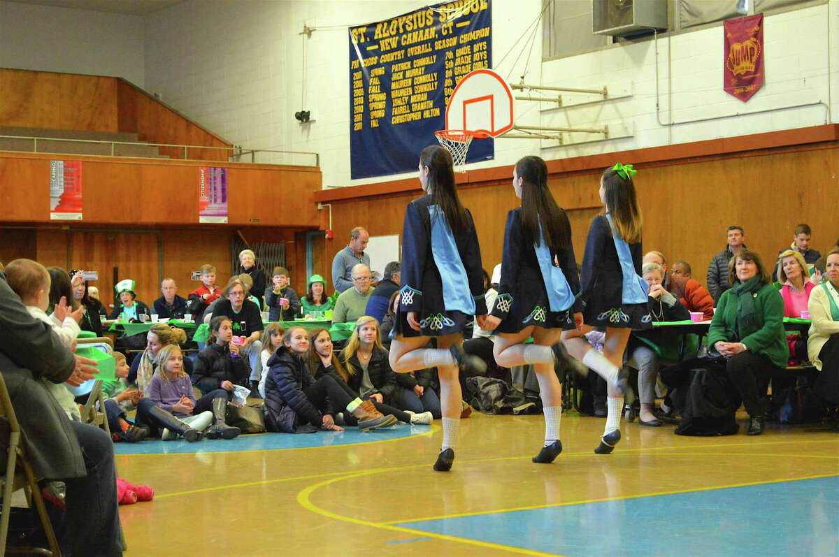 Dancers from the Anam Cara School perform at the annual St. Patrick's Day Dinner & Social, hosted by the Kiwanis club of New Canaan on Sunday at St. Aloysius School.