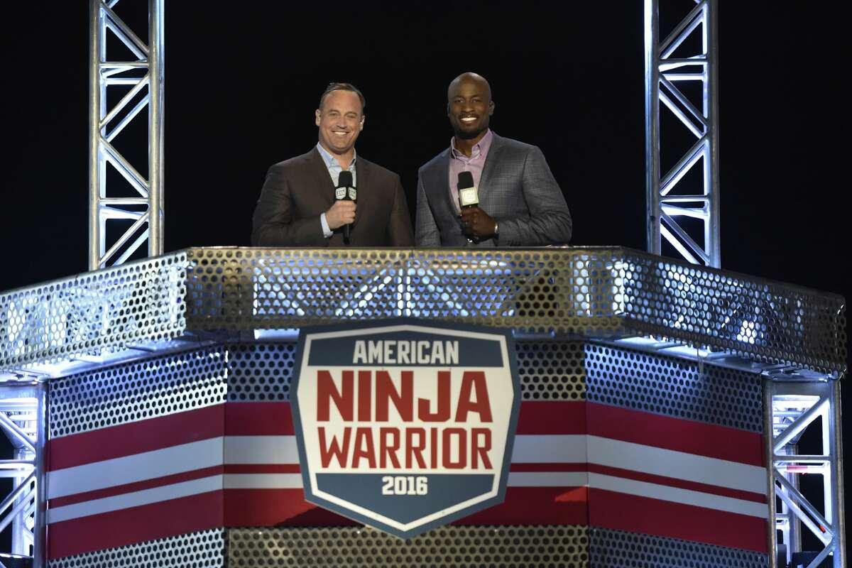 'American Ninja Warrior' Hosts Matt Iseman and Akbar Gbajabiamila are coming for an NBC shoot in San Antonio. (Photo by: David Becker/NBC)