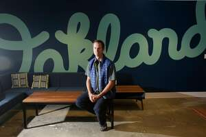 Tim Westergren, Pandora founder, sits for a portrait in a recent expansion of the Pandora office on Monday, October 20,  2015 in Oakland, Calif.