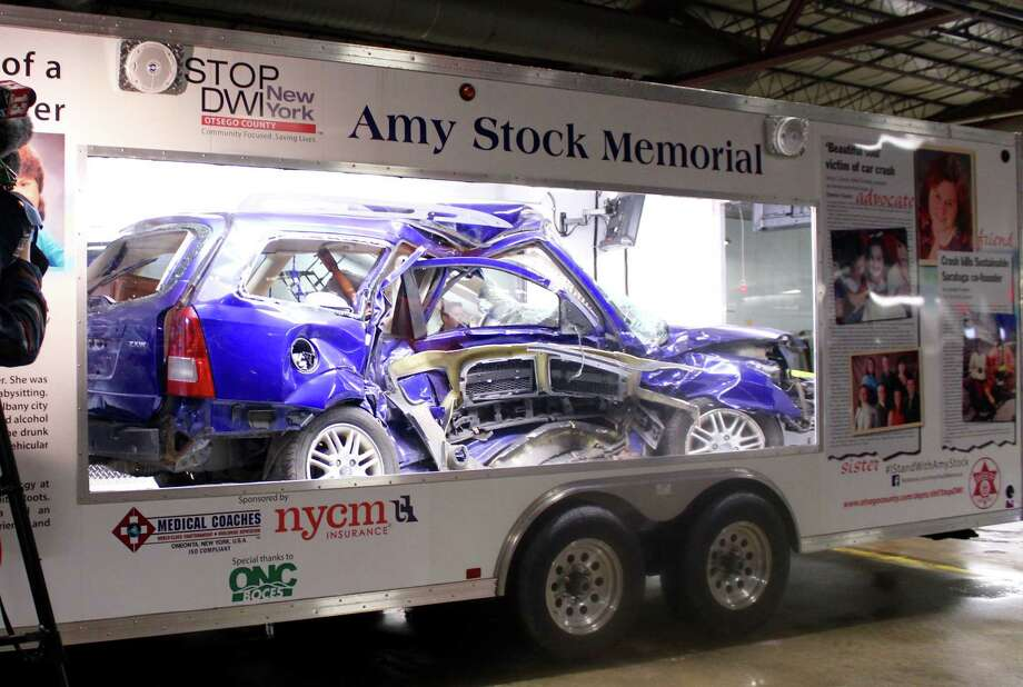 The Saratoga County Sheriff's Amy Stock Memorial trailer debute on Monday, March 13, 2017, and will travel to county colleges and high schools to remind students of the dangers of drinking and driving. (Wendy Liberatore/Times Union)